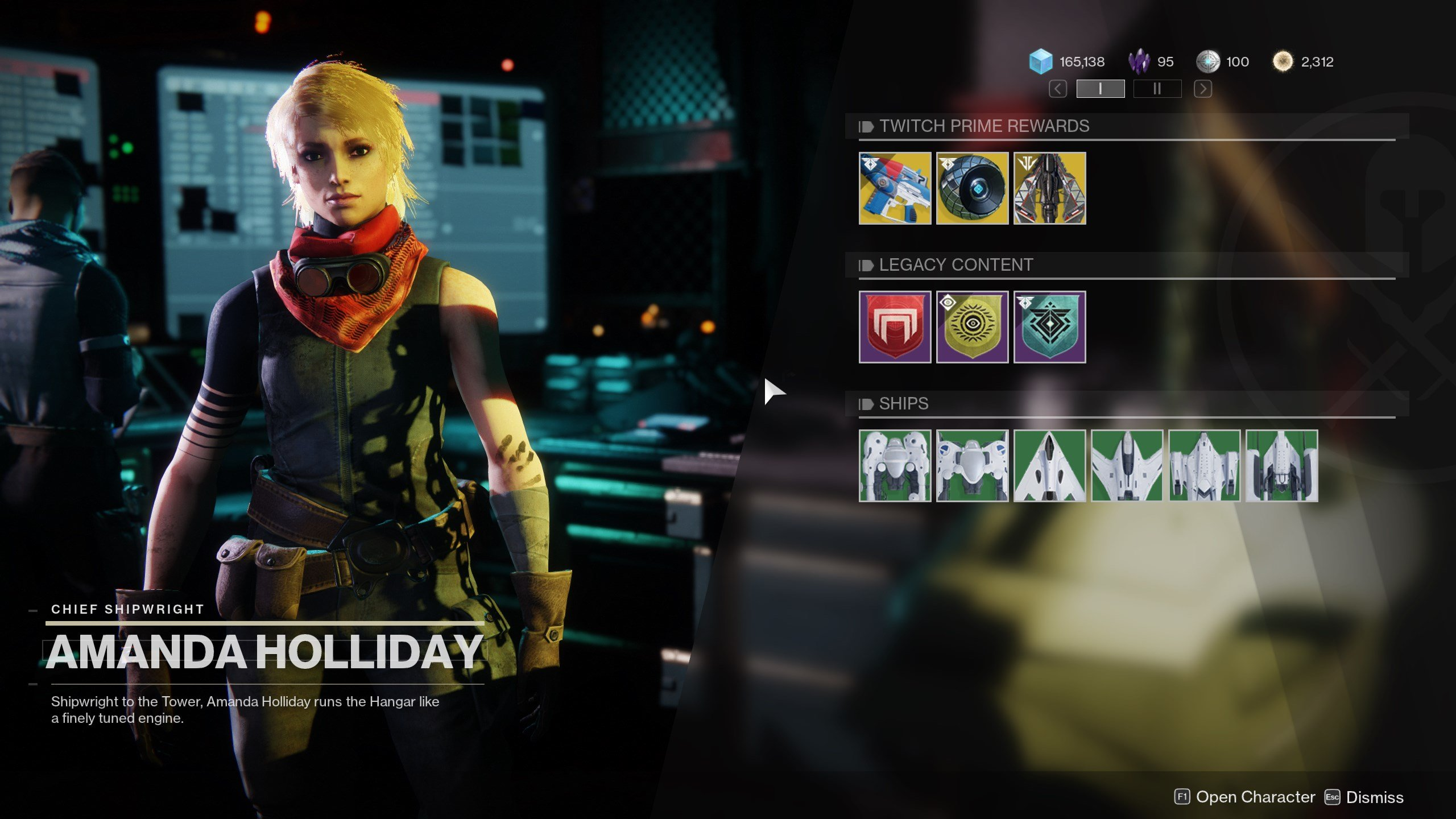Destiny 2 Twitch Prime exotic loot drop Amanda Holliday menu