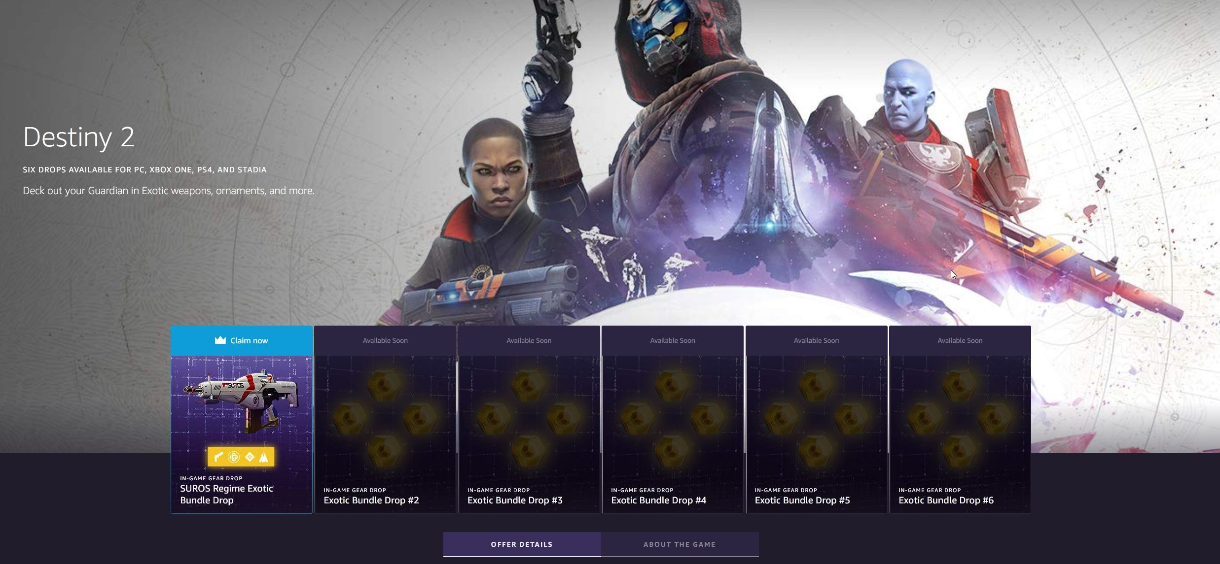 Destiny 2 Twitch Prime Exotic loot drop page