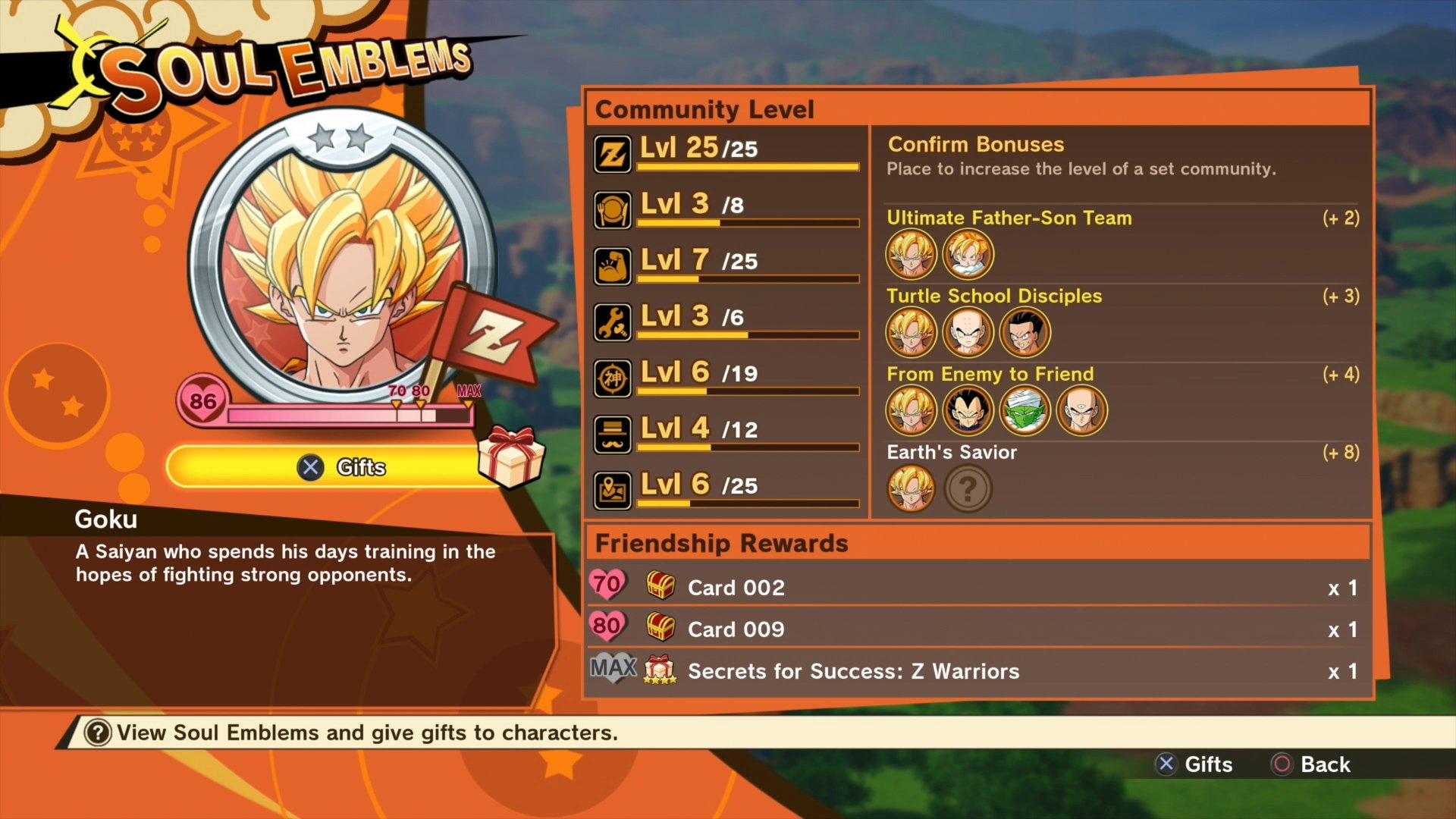 DBZ Kakarot - Soul Emblem bonuses
