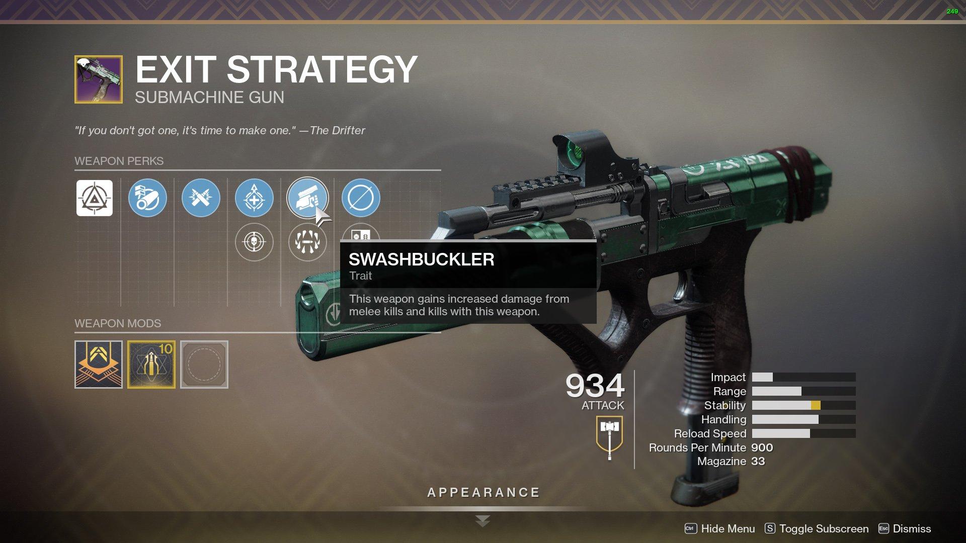 Destiny 2 Exit Strategy perks