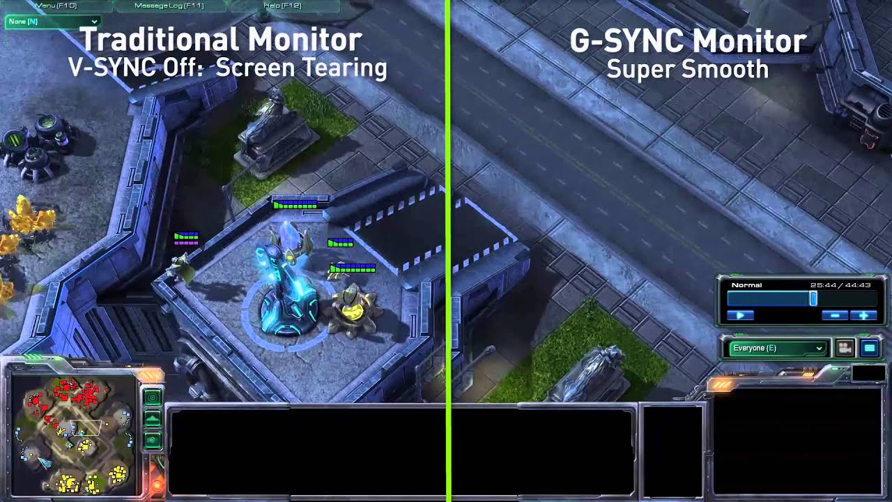 G-Sync monitor in action - v-sync comparison