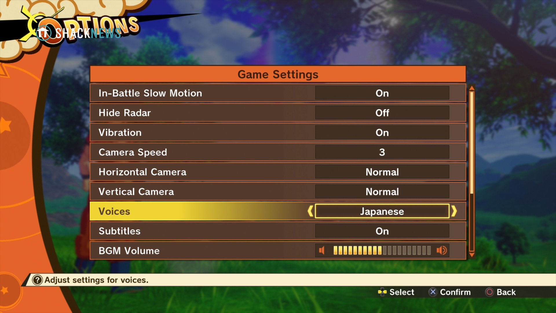 voice language options - DBZ Kakarot