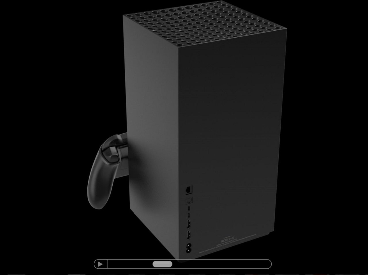 The images of the Xbox Series X used were apparently 3D renders sourced from a third party site known as TurboSquid, which includes disclaimers that they may not be accurate.