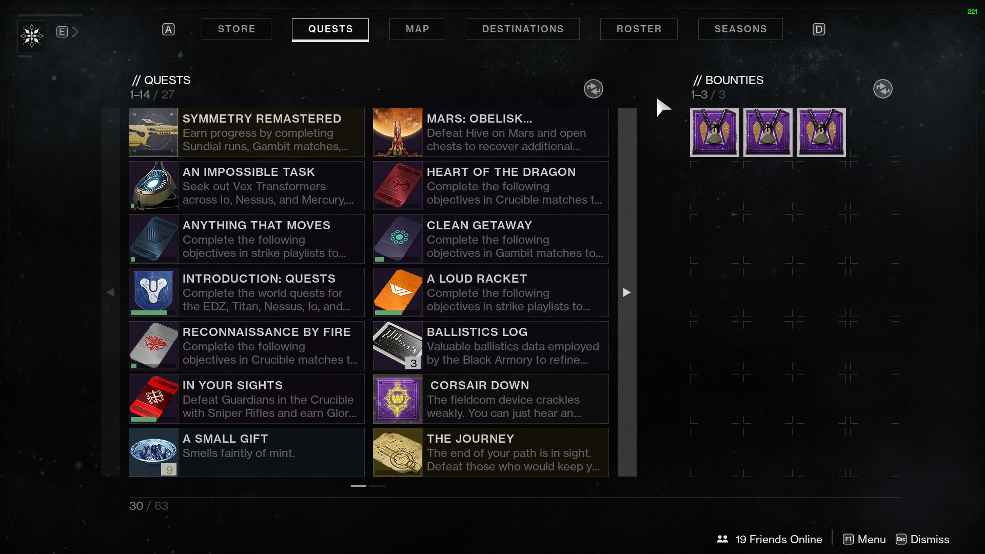 pursuits bounties and quests destiny 2