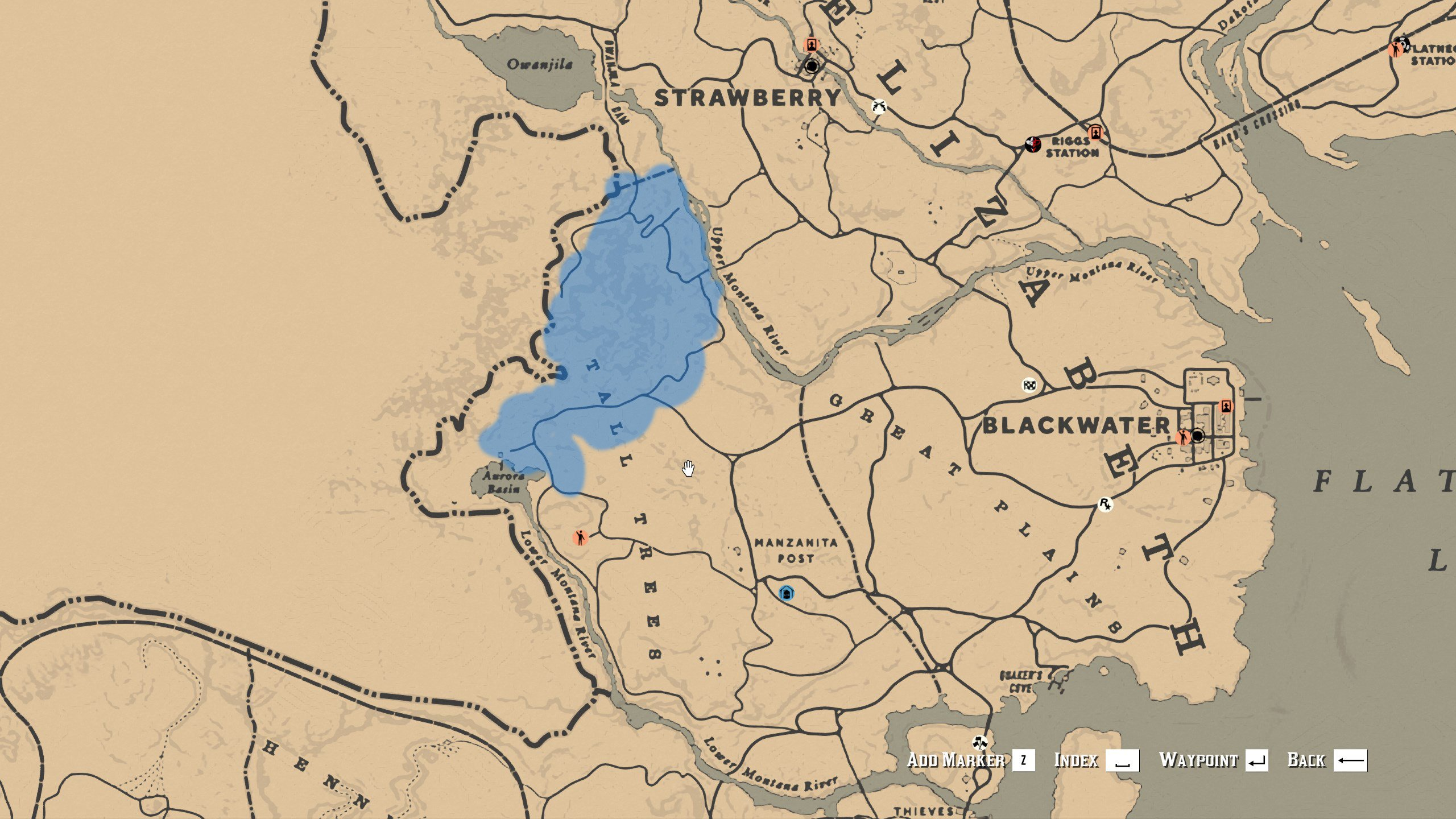American Badger locations in Tall Trees - Red Dead Redemption 2