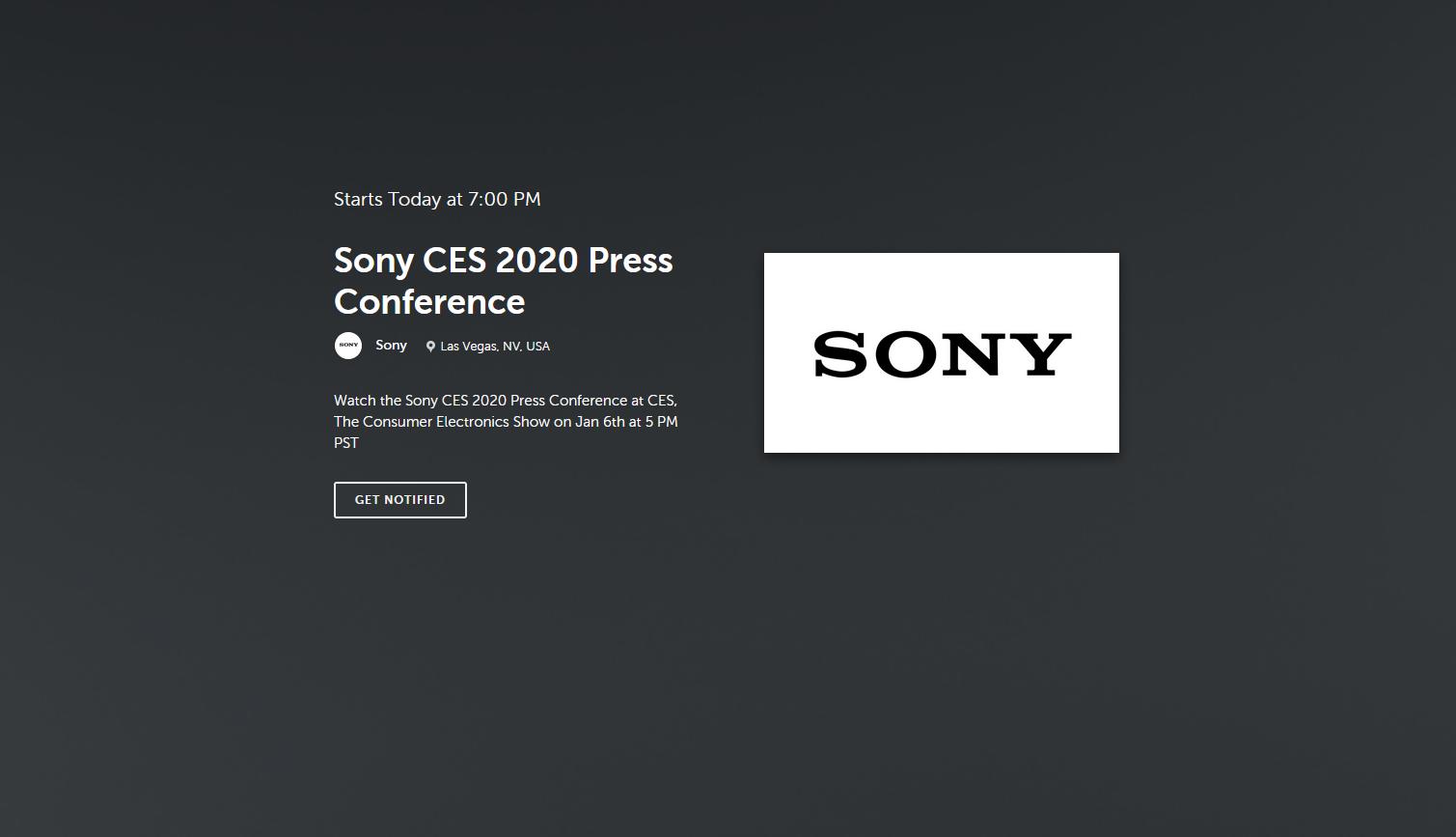 Sony CES 2020 livestream