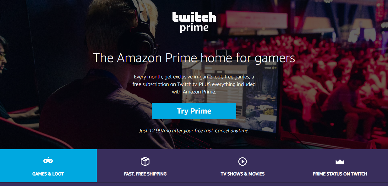 Twitch Prime subscription benefits