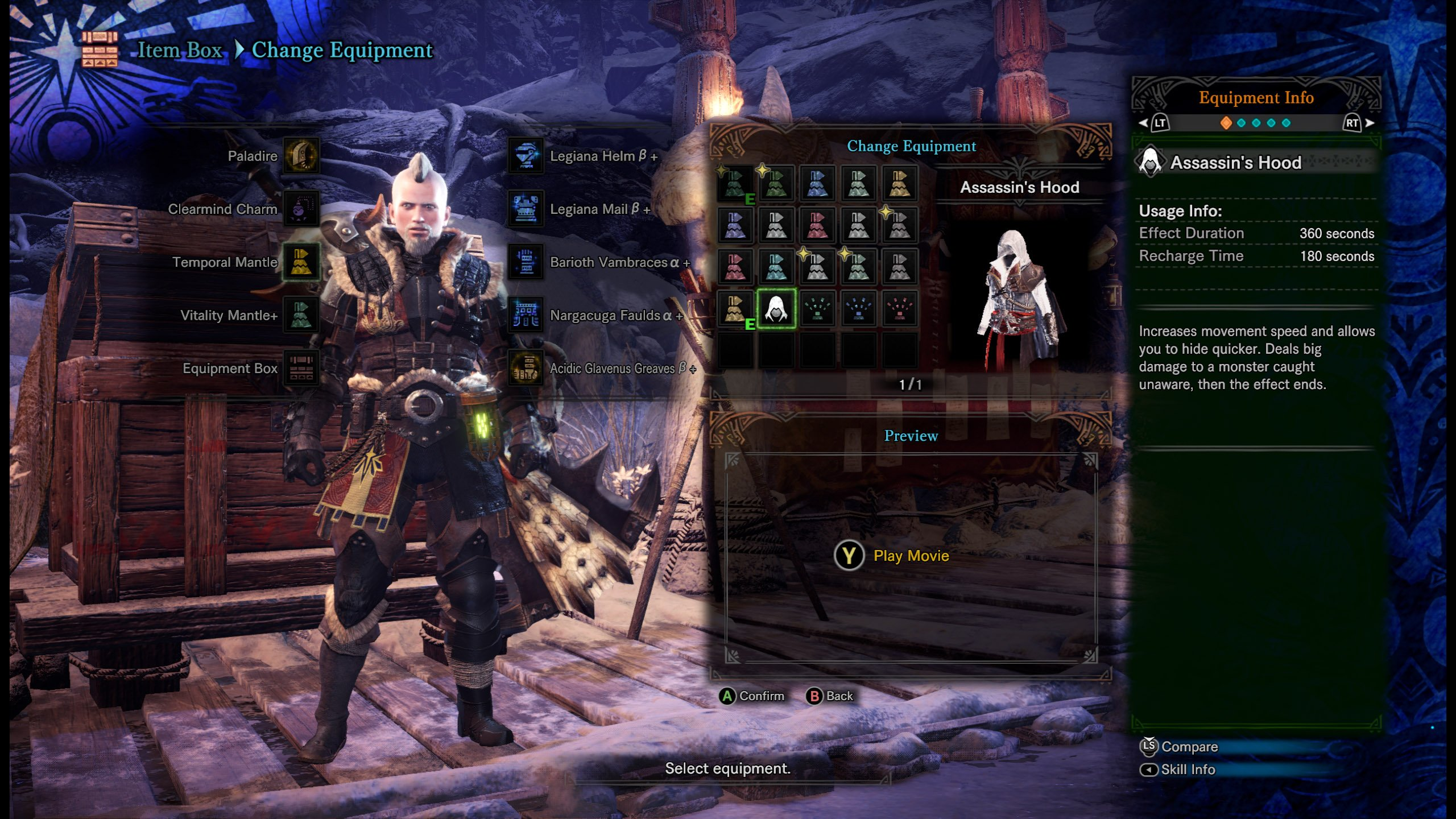 Assassin's Hood Mantle Monster Hunter World