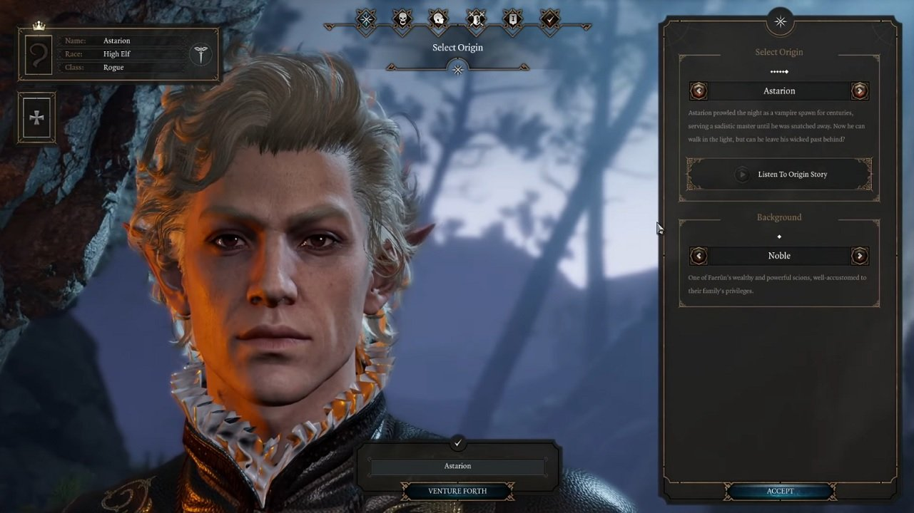 A glimpse at Baldur's Gate 3 races and character creation.