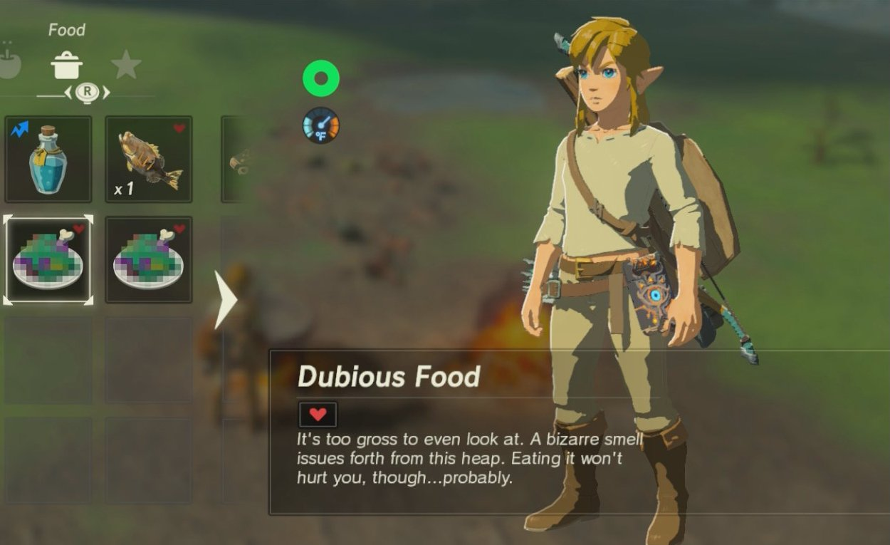 BoTW - dubious food - failed cooking