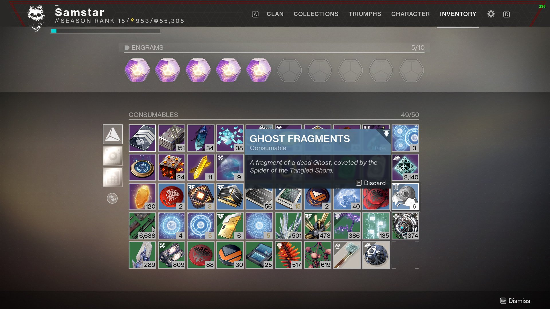 ghost fragments destiny 2