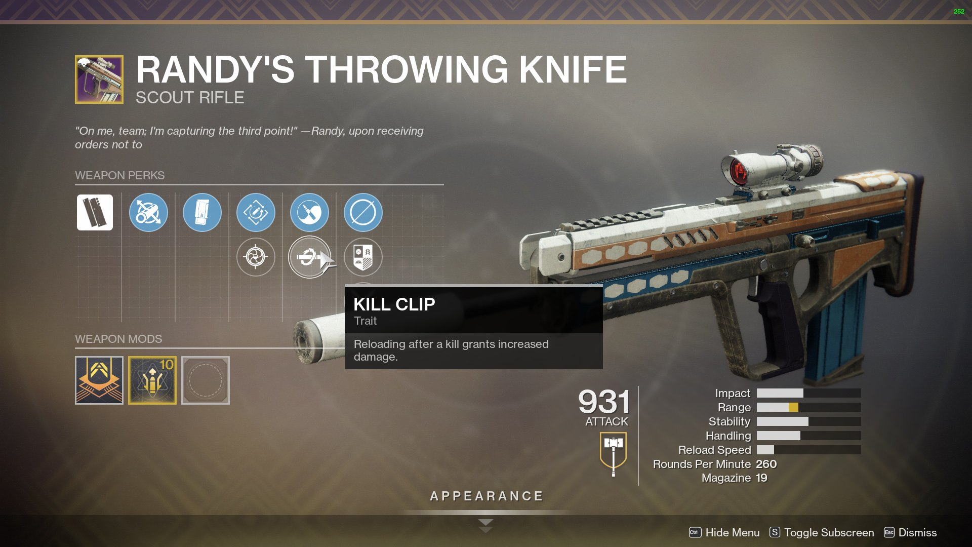 destiny 2 randy's throwing knife