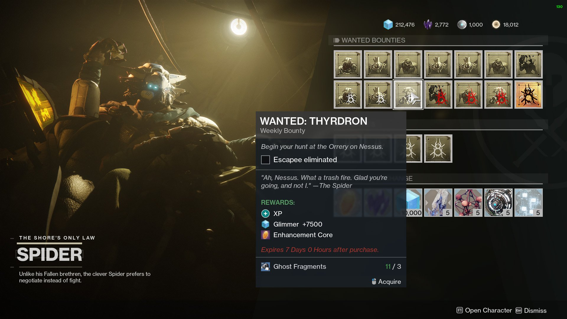destiny 2 spider bounty wanted thyrdron