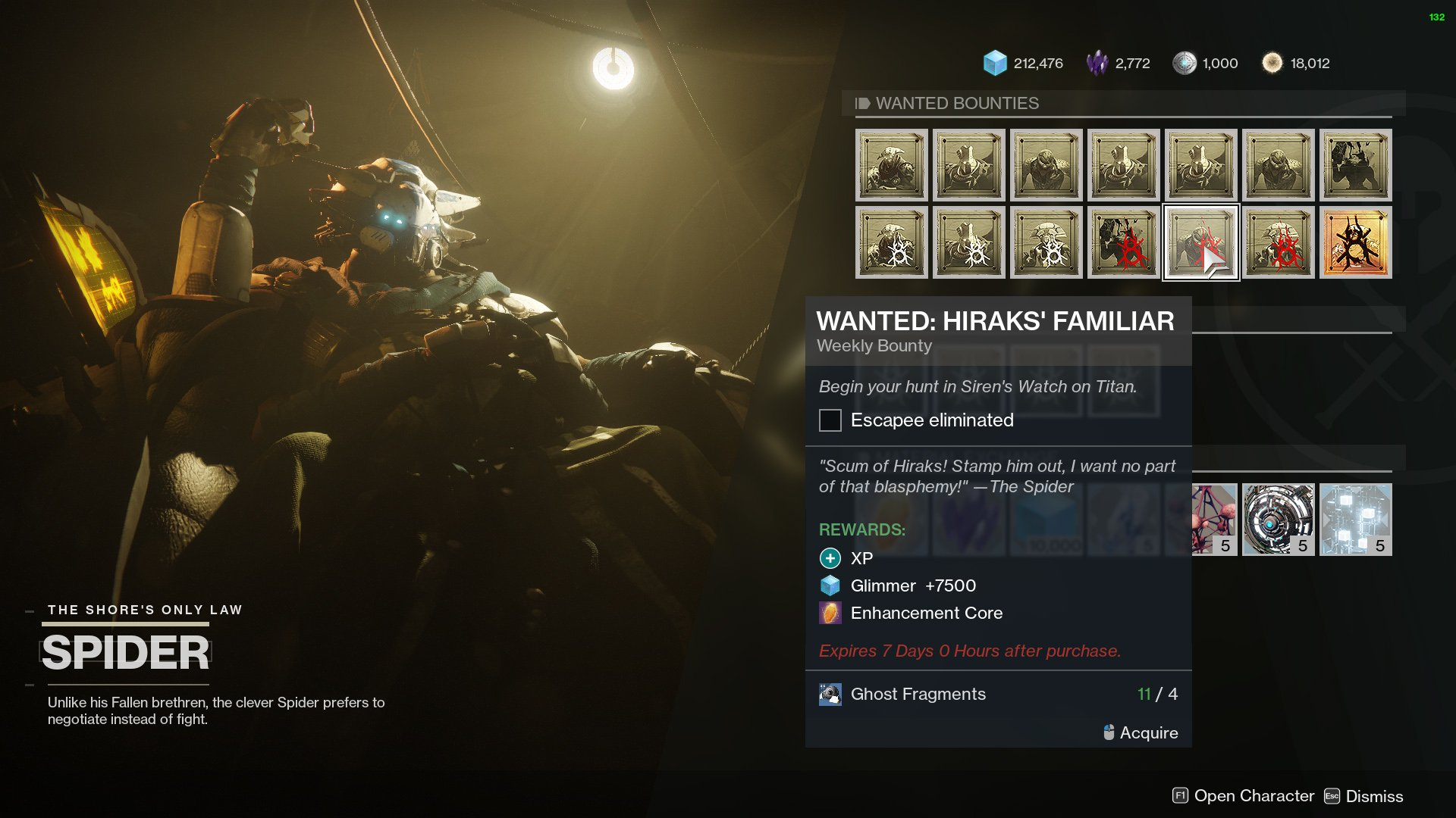 destiny 2 spider's wanted bounty hiraks' familiar