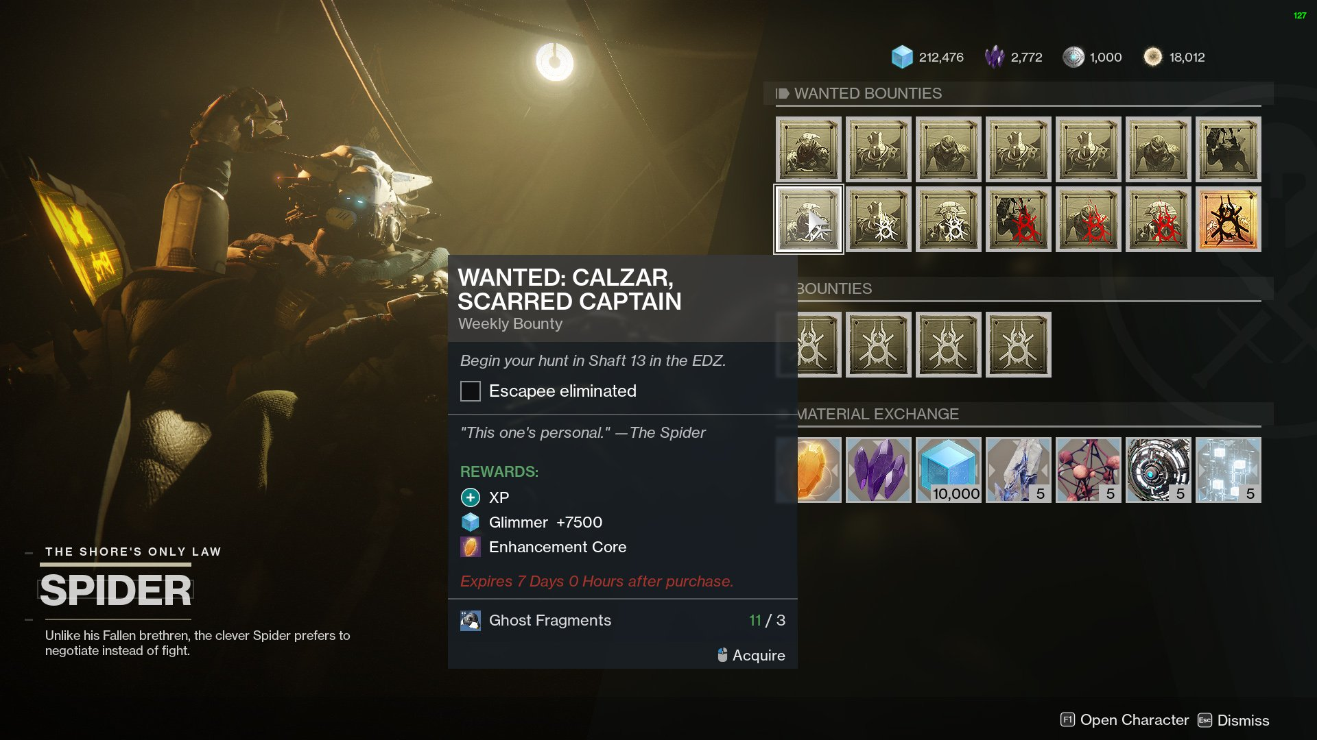 destiny 2 spider wanted bounty calzar scarred captain