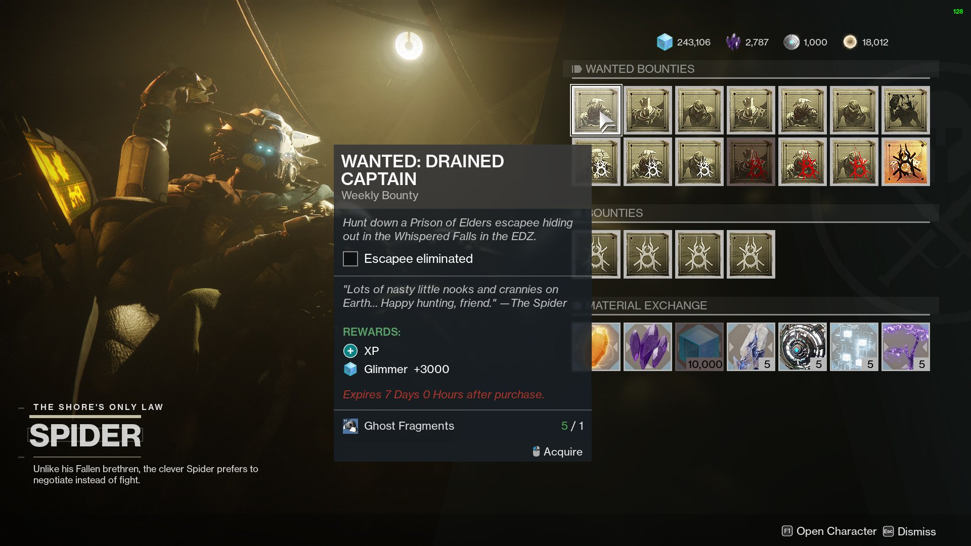 destiny 2 drained captain wanted target