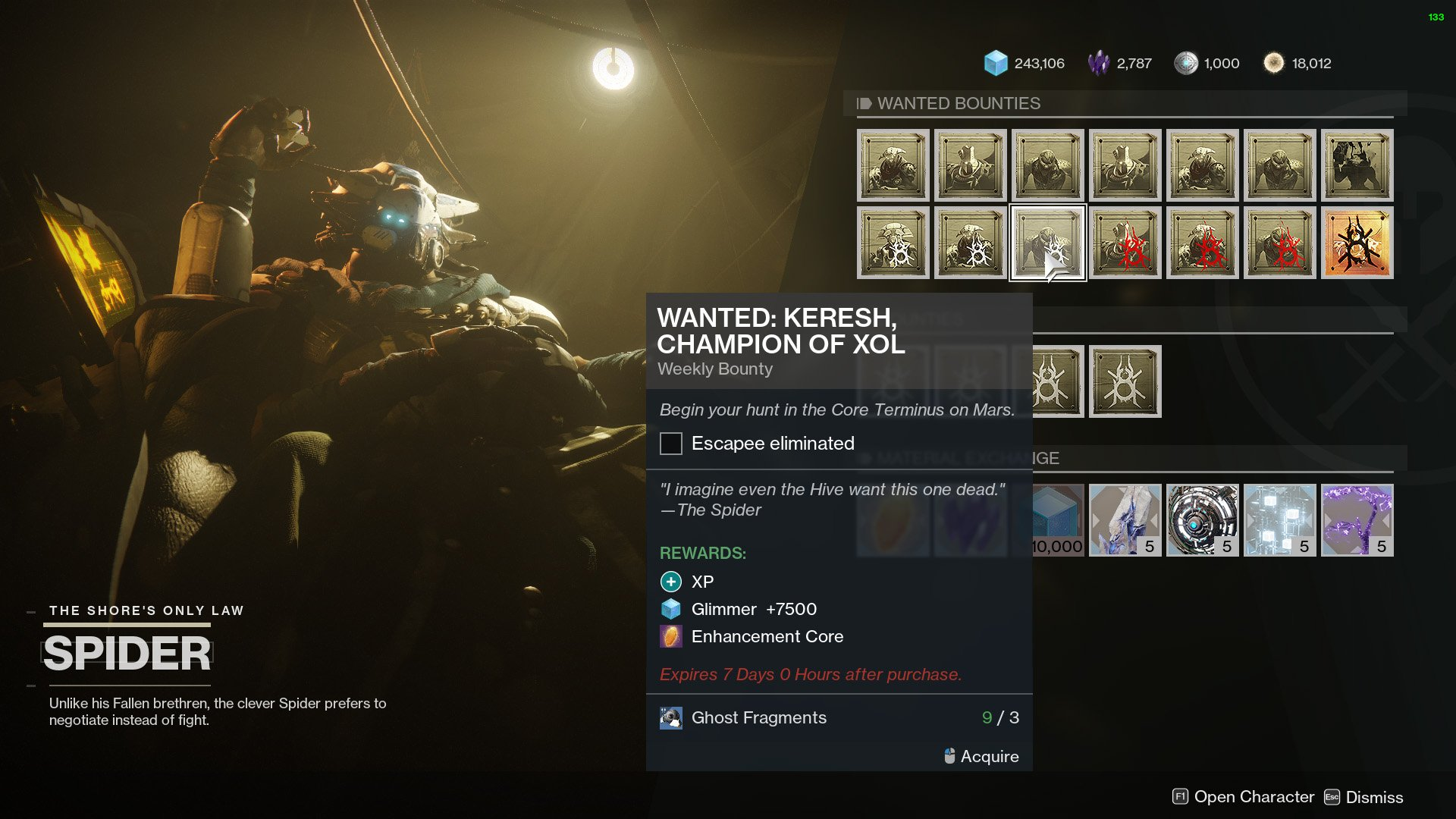 destiny 2 spiders wanted bounty keresh champion of xol
