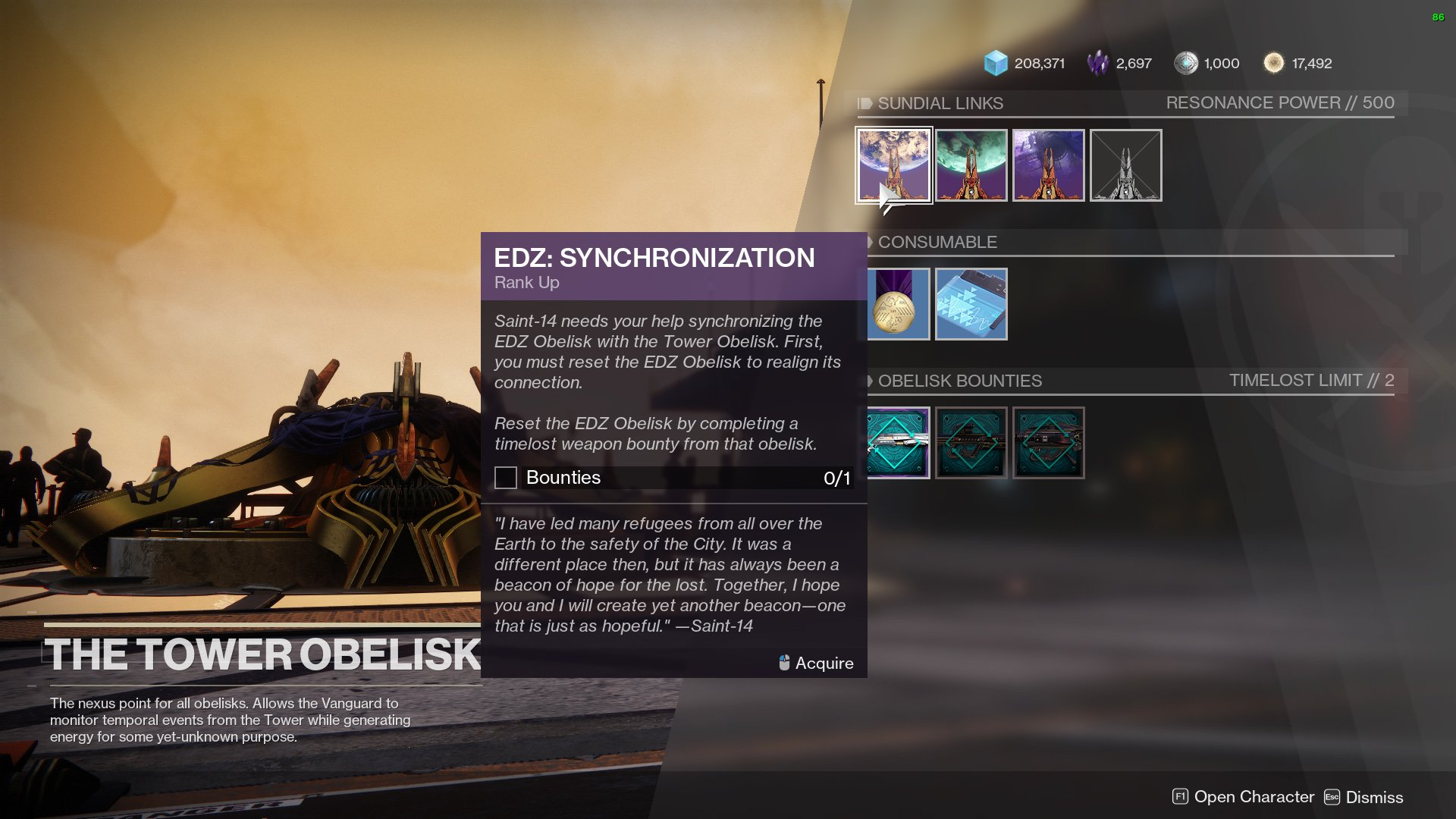 Destiny 2 Synchronization quest Tower Obelisk