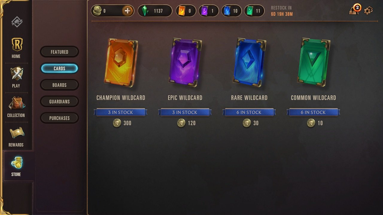 Shards are earned through regular play, and wildcards can be earned too, but wildcards can also be bought in the Legends of Runeterra store.
