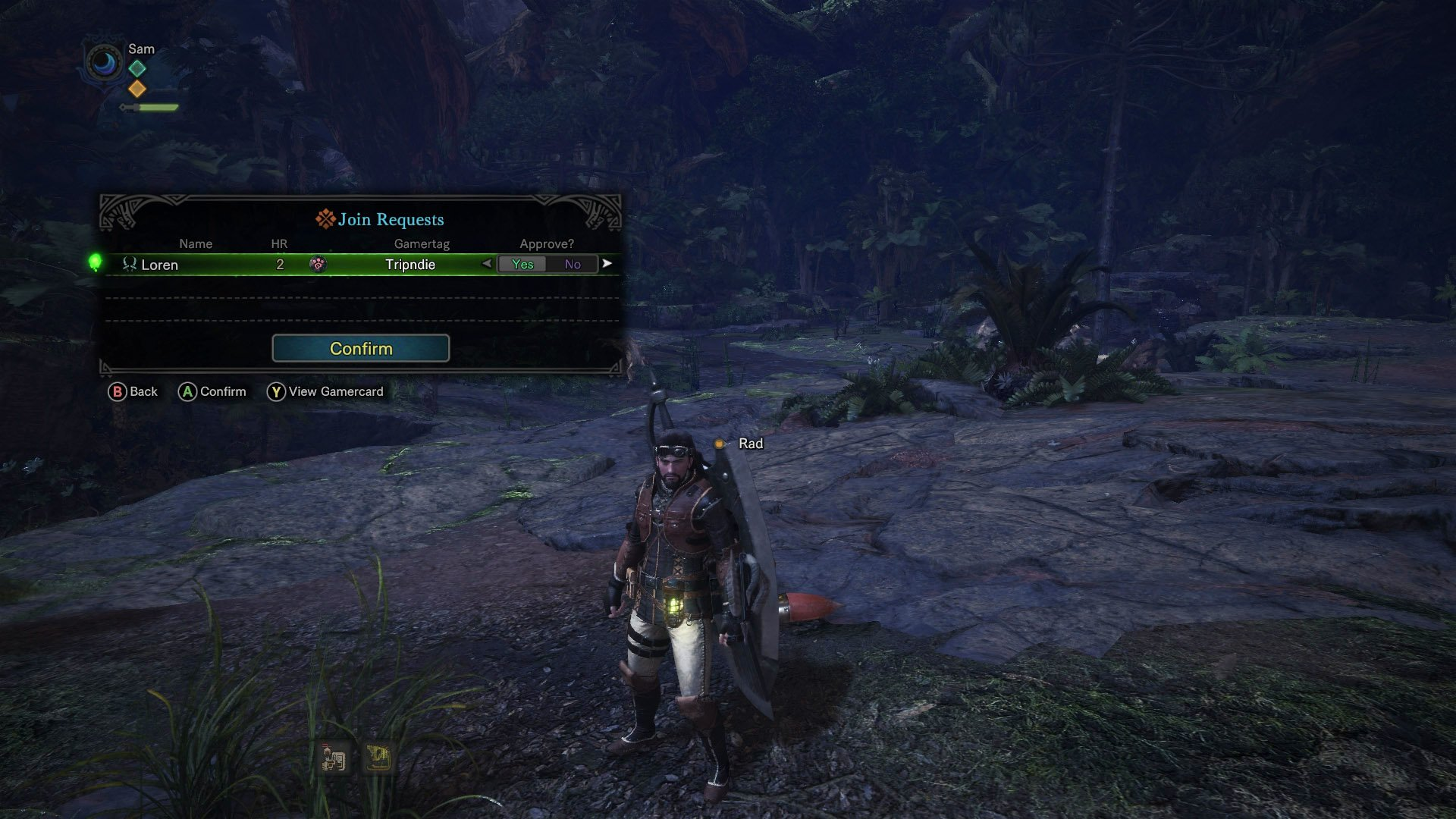 monster hunter world coop join request