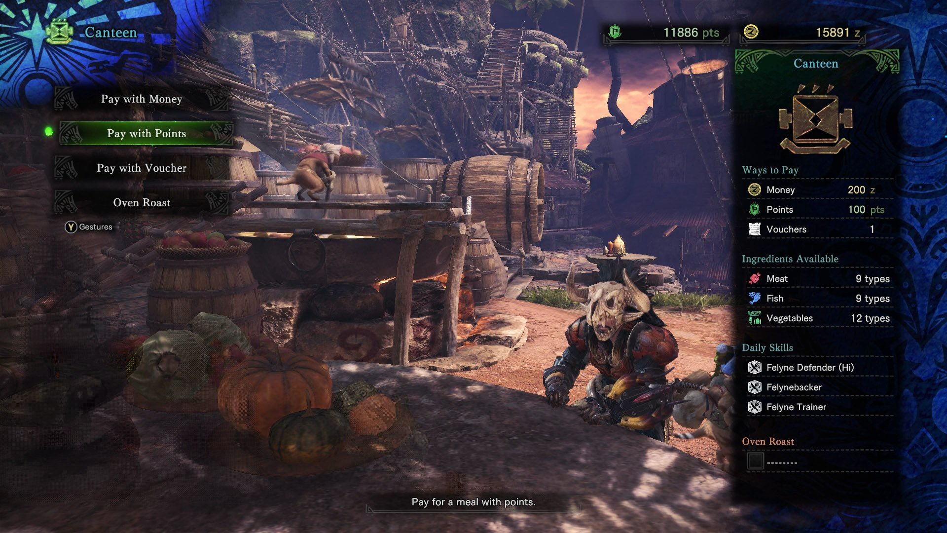 monster hunter world research points canteen