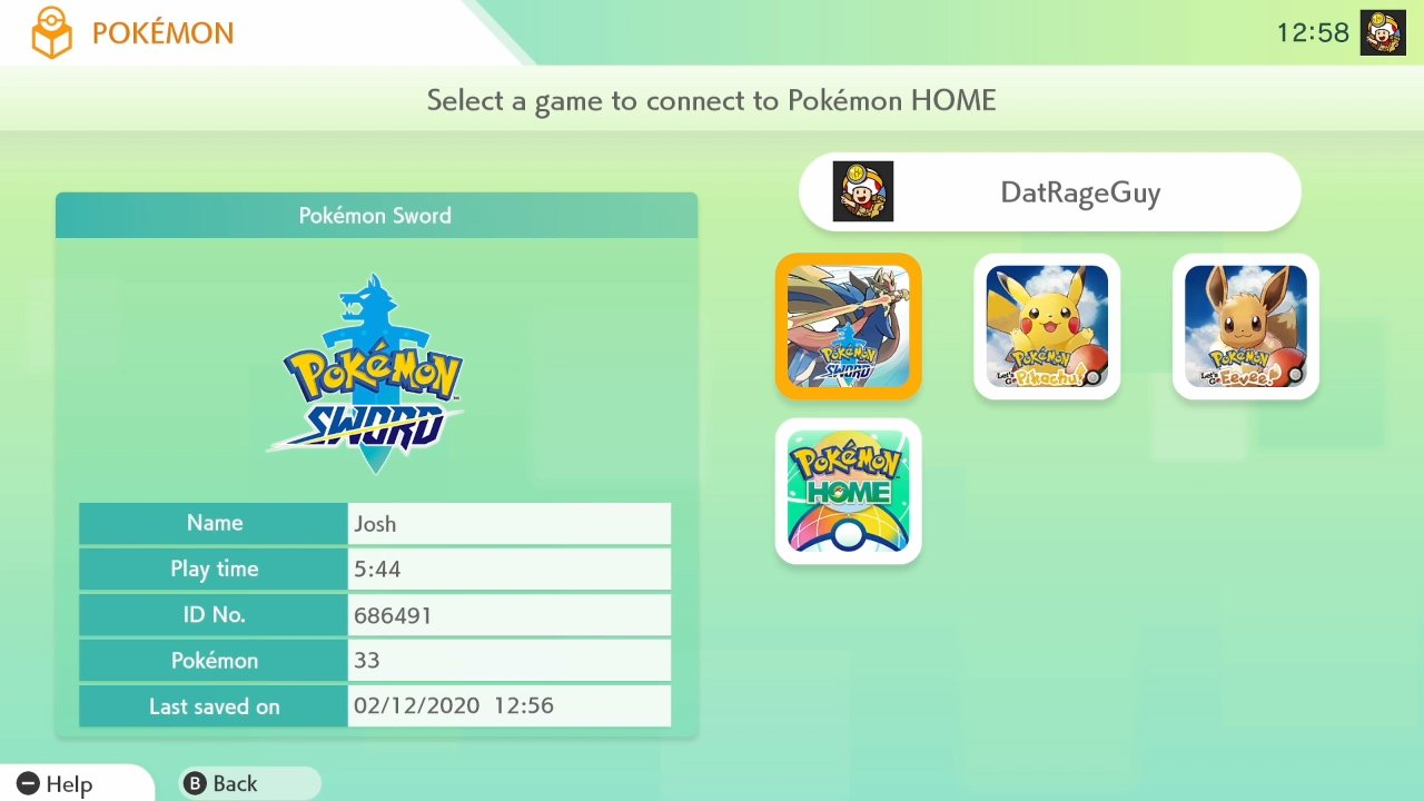 Pokemon Home game selection screen