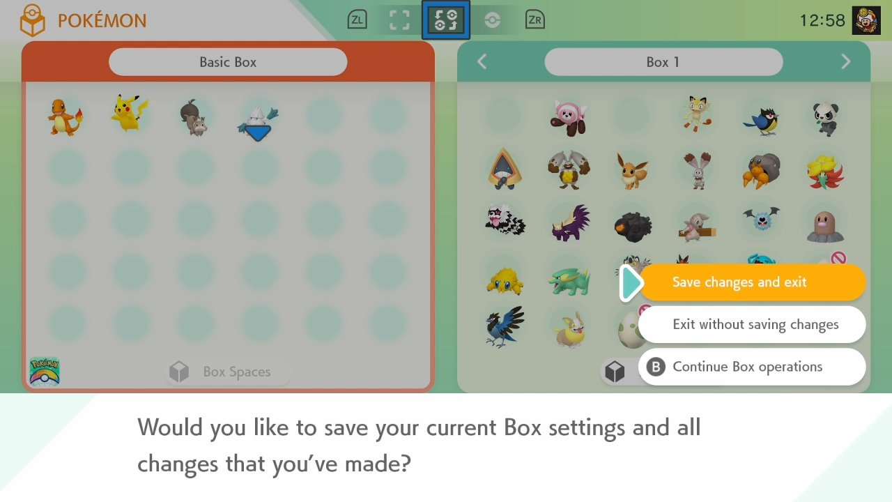Pokemon Home - save boxes