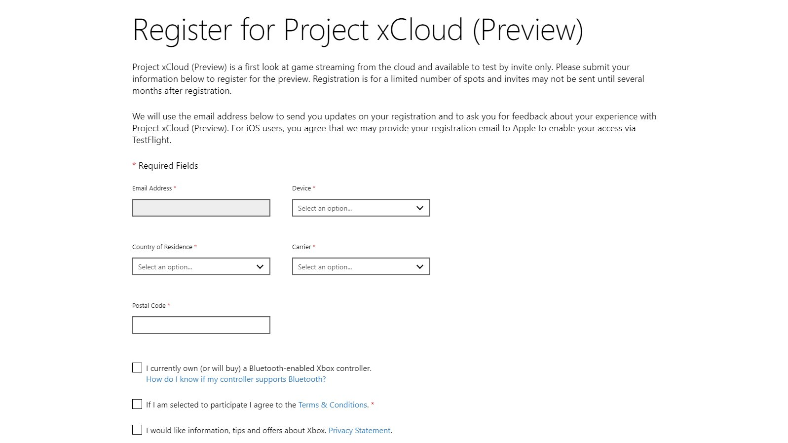 project xcloud preview sign up