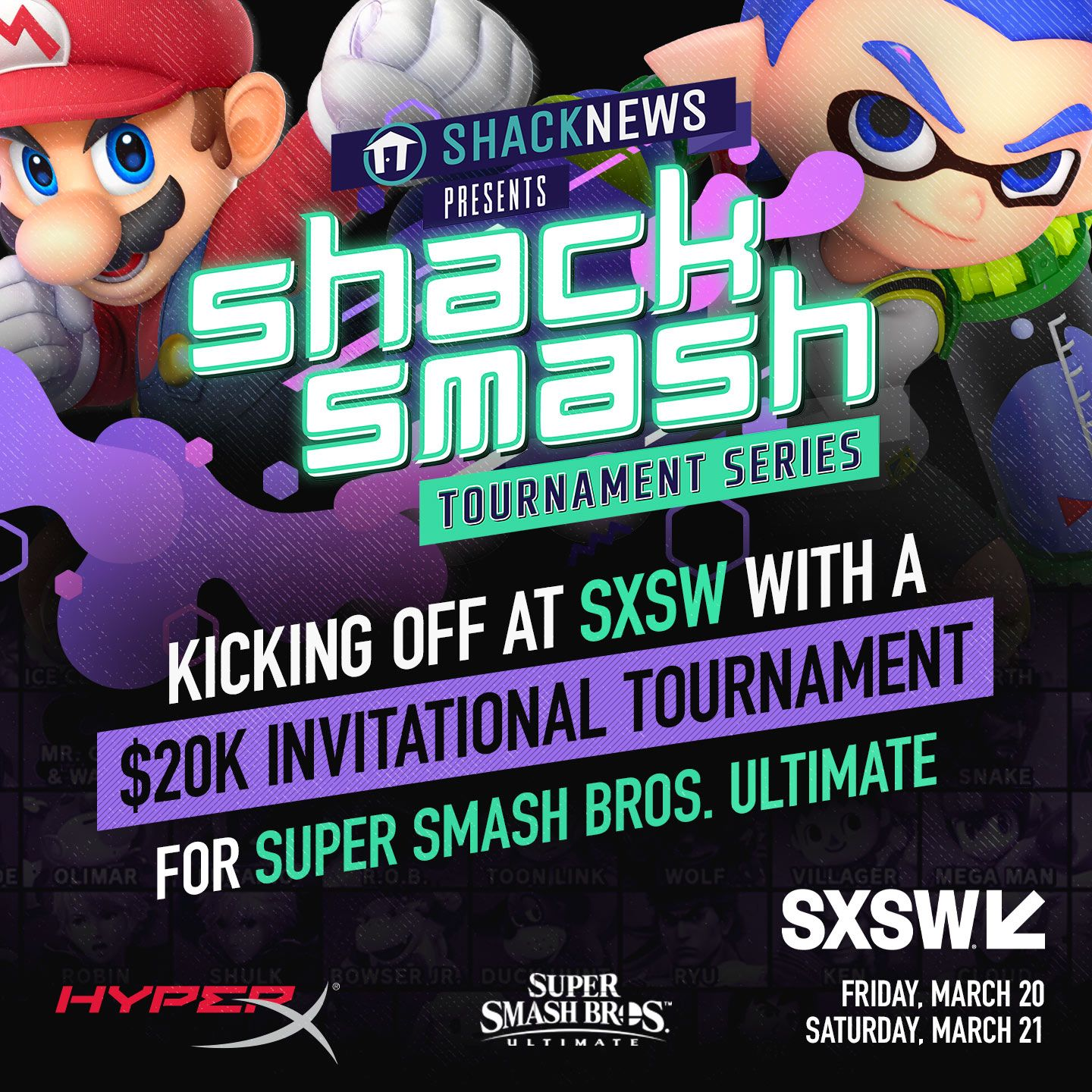 Shack Smash SXSW 2020 will start on March 20 at the Palmer Center in Austin, Texas.