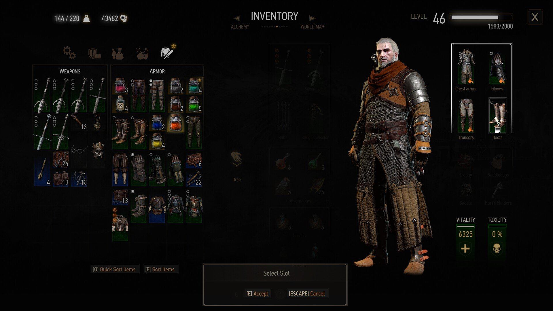 Inventory screen - Witcher 3 armor dyes