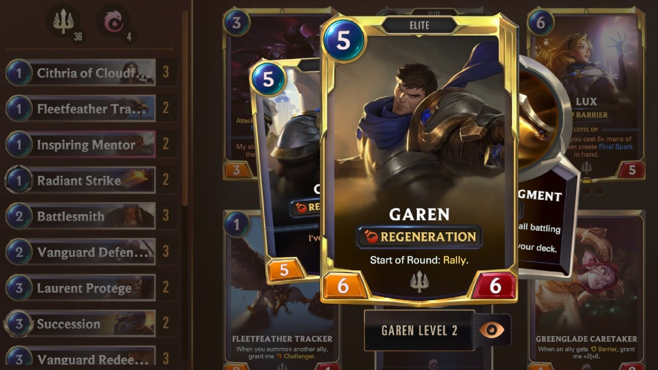 Garen and his band of Demacian Elites and Vanguards serve eachother well when you can play various combinations of them together.