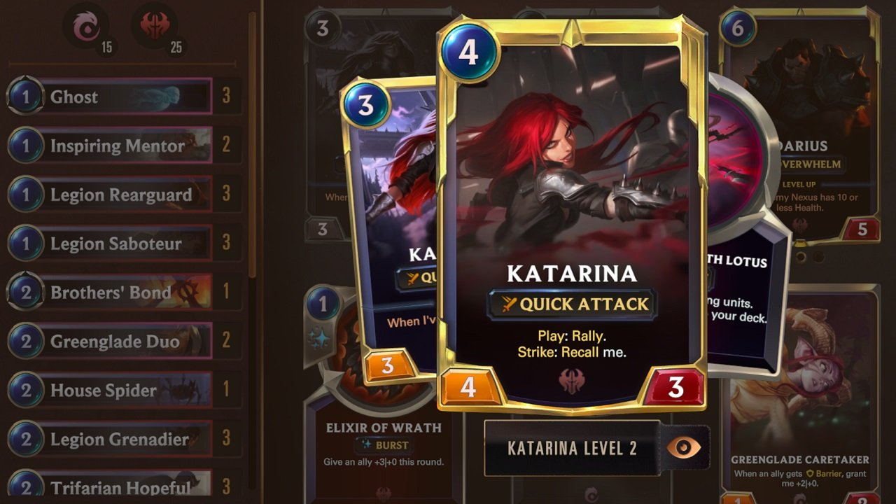 Katarina's constant recall and rally abilities are at the core of this aptly named Rally Recall deck.