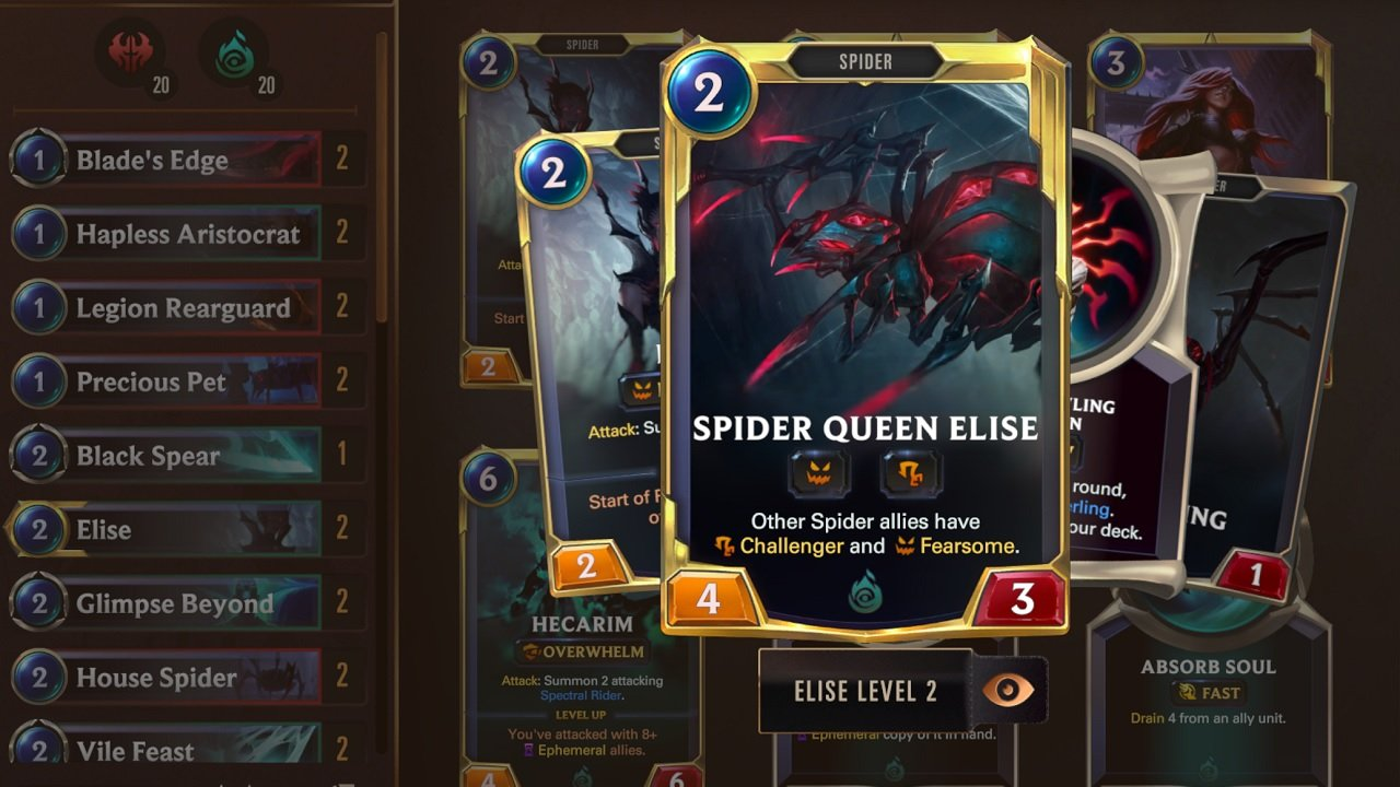 Turning Elise into her Level 2 Spider Queen form will get your early deck play going hard and heavy with the Spider Swarm deck