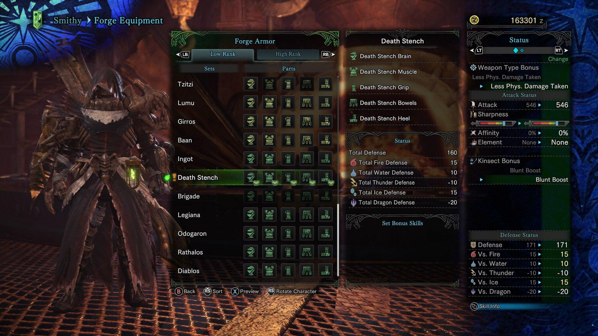 monster hunter world death stench armor