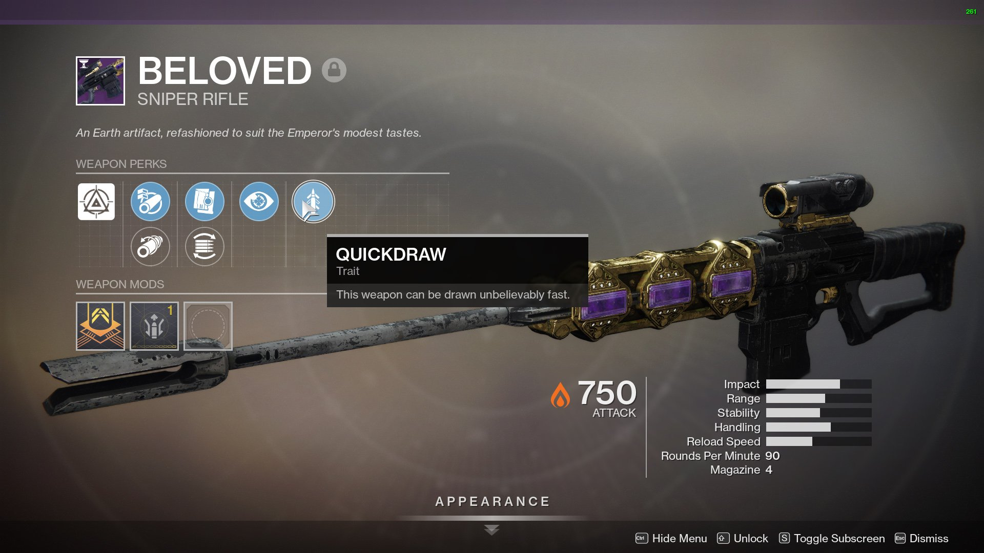 destiny 2 beloved god roll quickdraw