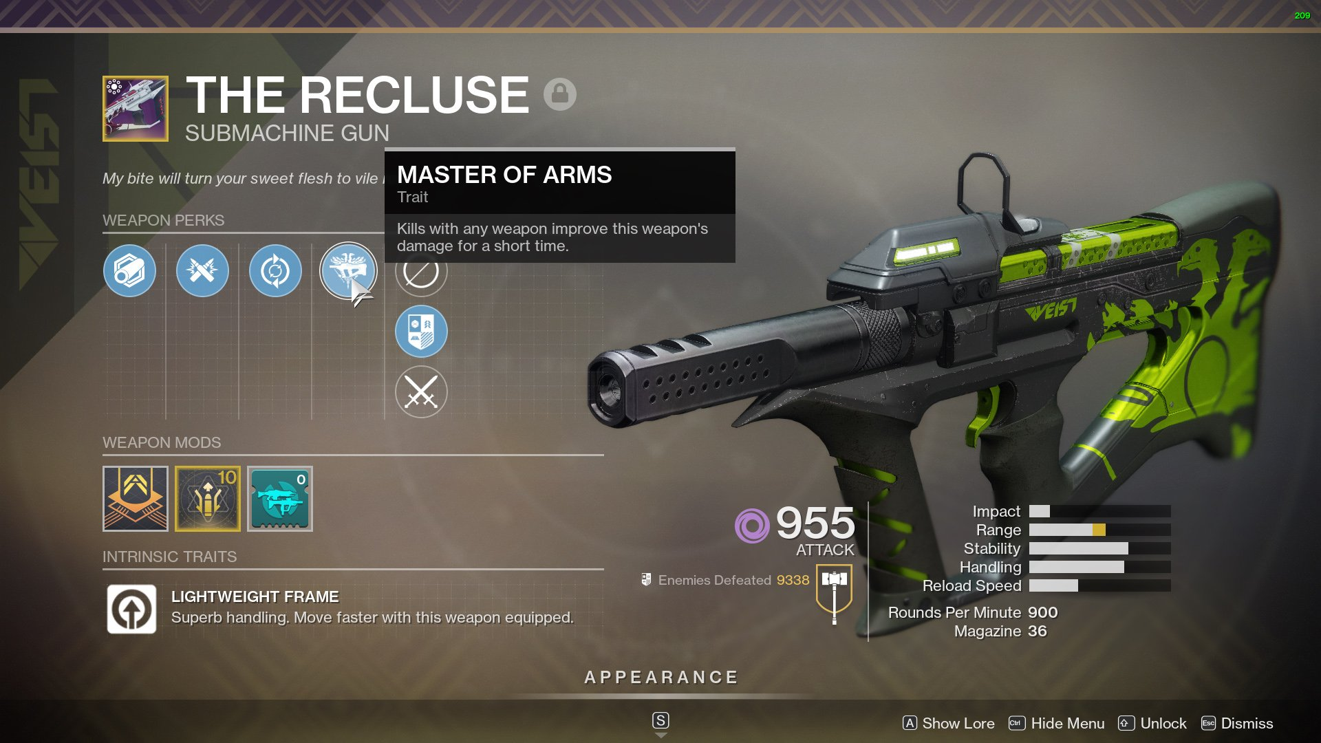 destiny 2 best smg the recluse