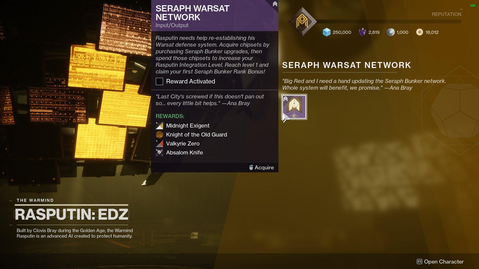Destiny 2 Seraph Warsat Network quest
