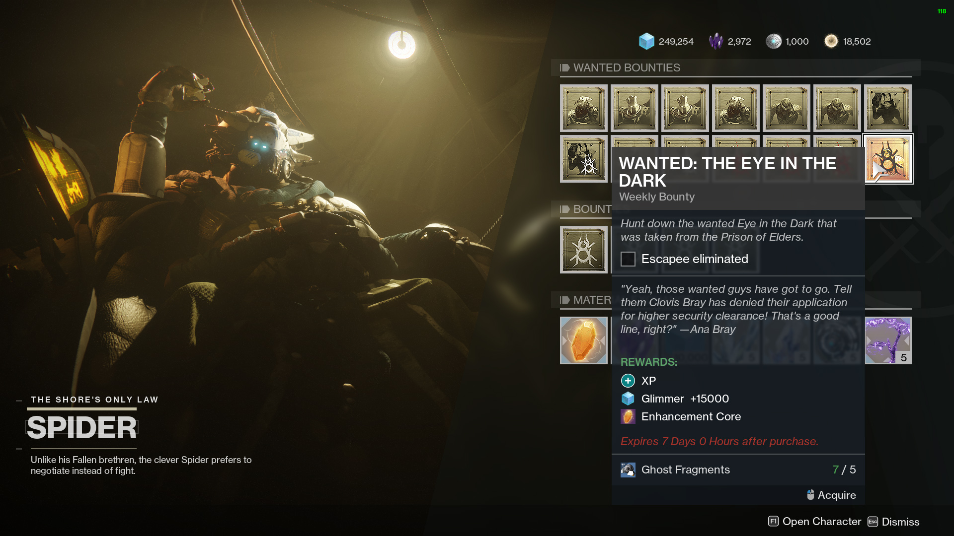 destiny 2 wanted the eye in the dark