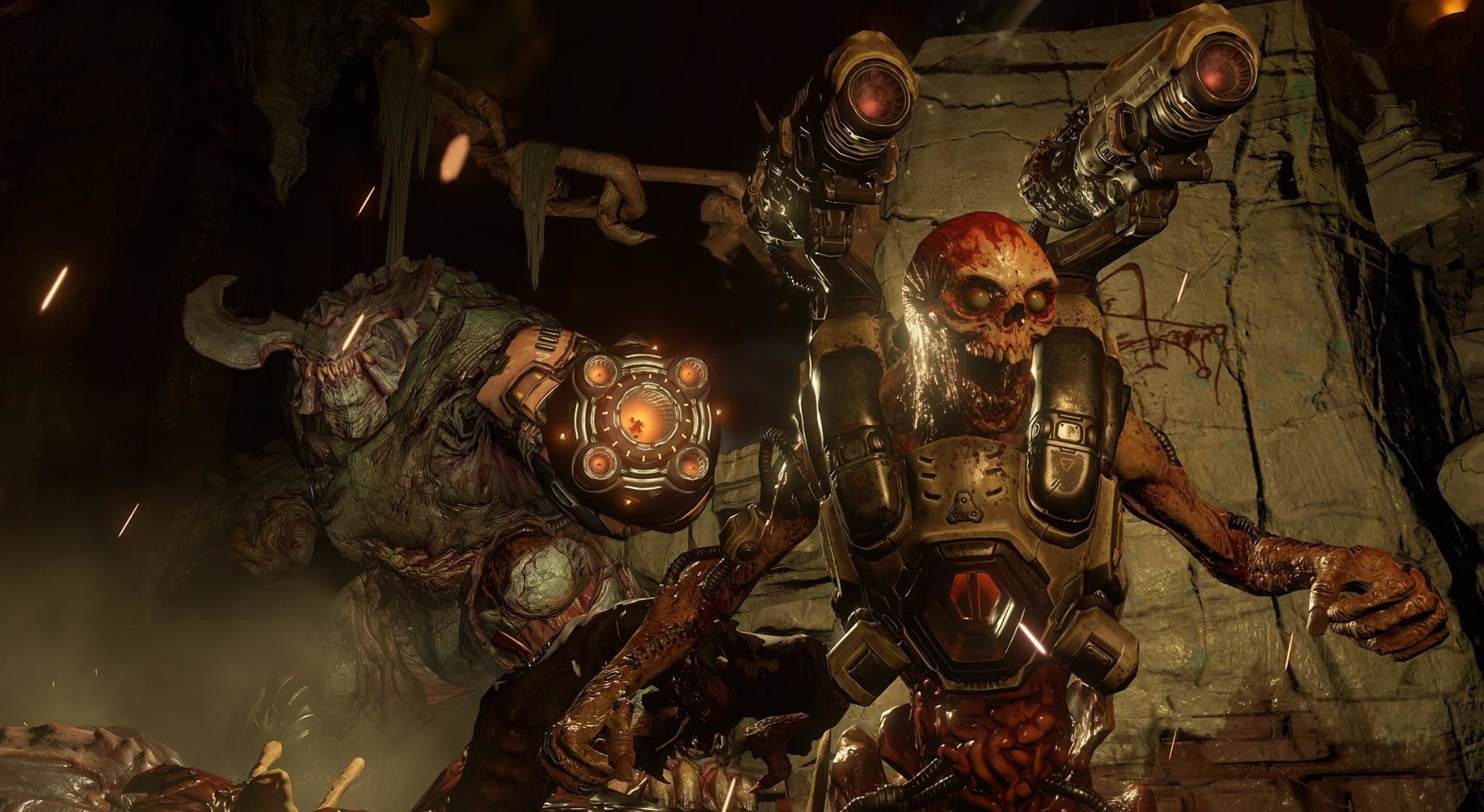 Doom 2016 put a new spin on classic monsters like the Mancubus (left, shown in his cybernetic incarnation) and the Revenant.