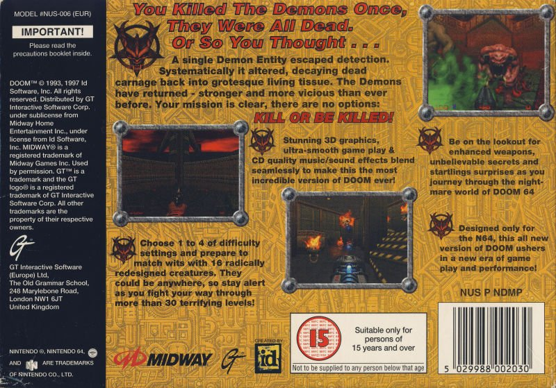 Doom 64's box art (back).
