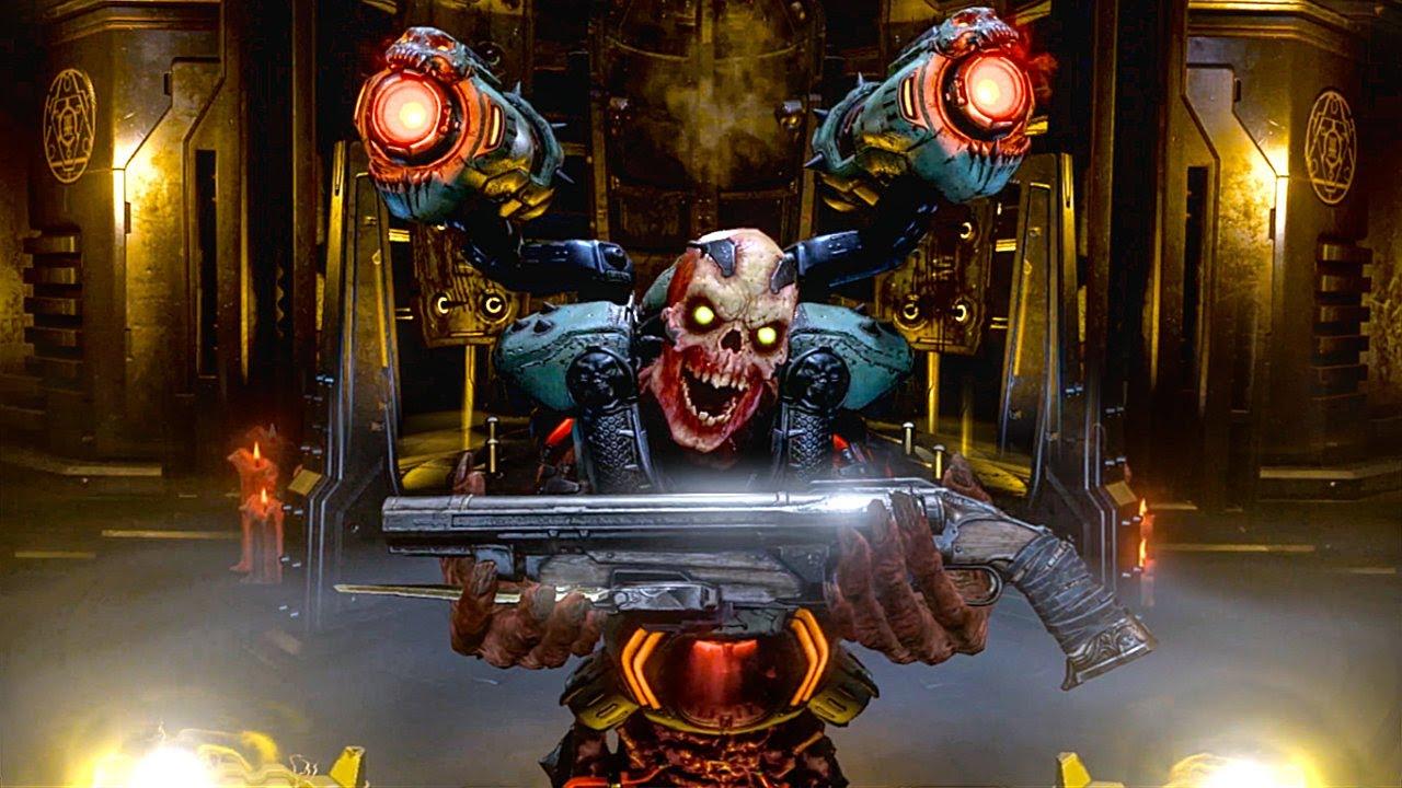 A Revenant begrudgingly hands the Doom Slayer his super shotty.