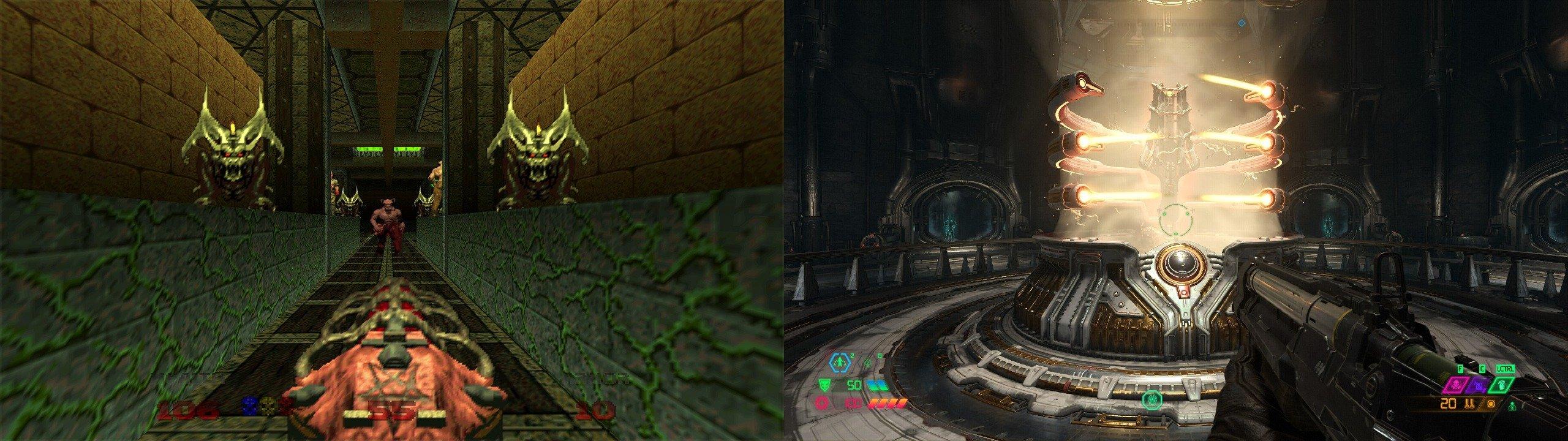 The Unmaker/Unmayrk in Doom 64 (left), and in Doom Eternal.