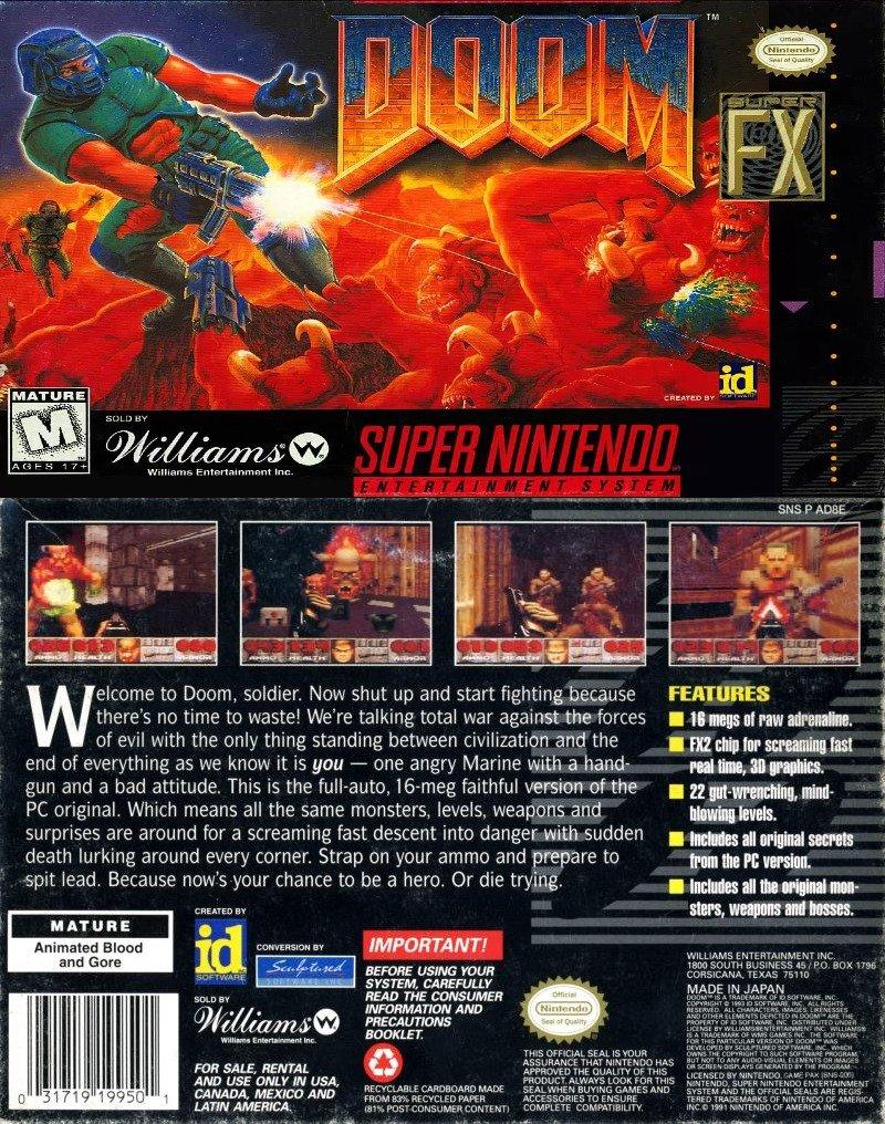Doom's box art on SNES.