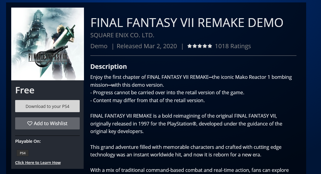 To download the FF7 Remake demo, head to link above.