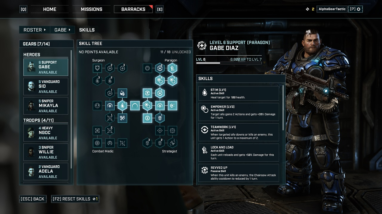 Even within a single squad class in Gears Tactics, there are around 30 skills and plenty of specializations to consider as you level up your soldiers.