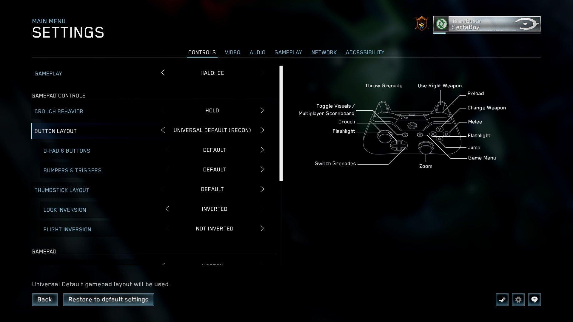 halo cea mcc pc controller universal default recon