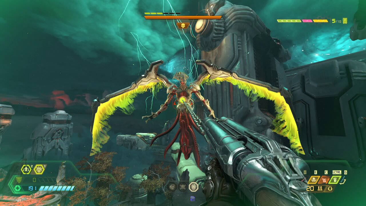 Use the Meat Hook to get close and perform a Blood Punch on the Khan Maykr - Doom Eternal