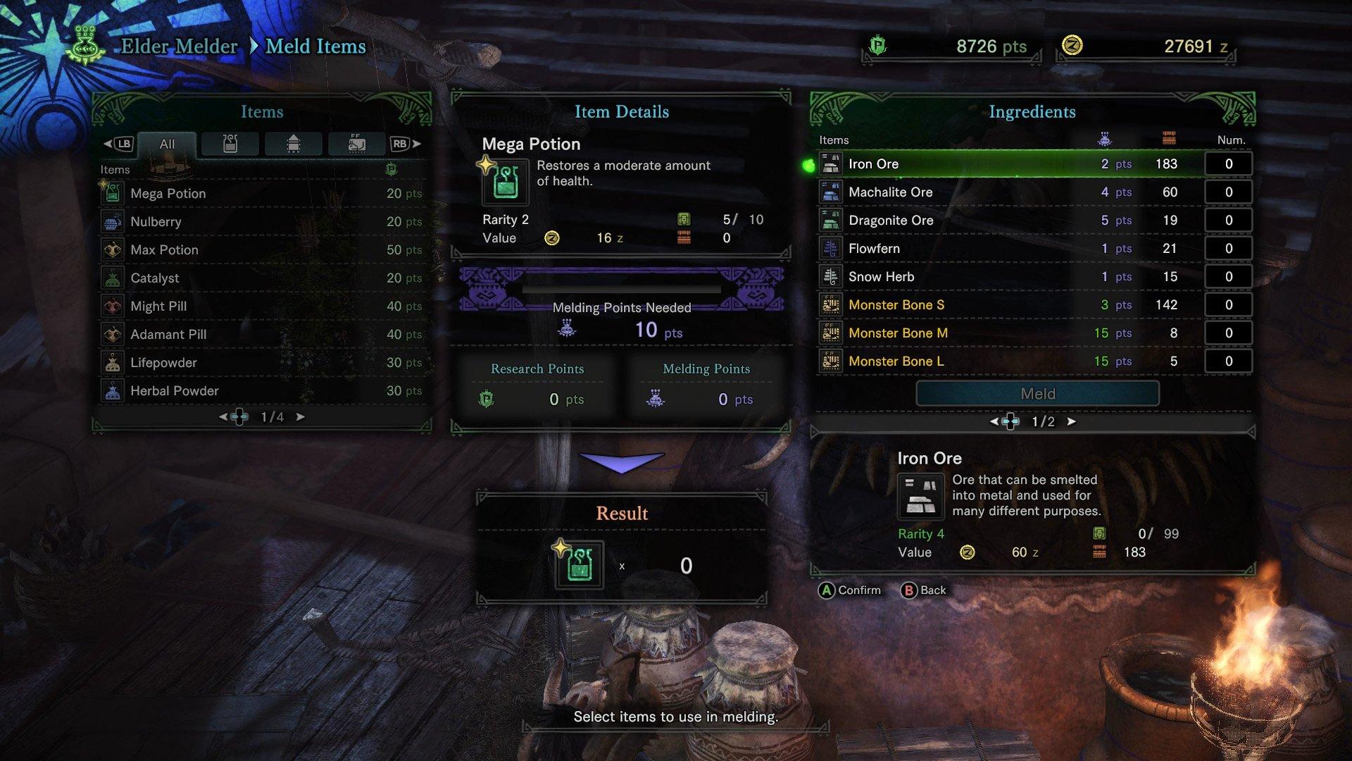 monster hunter world melding pot mega potion