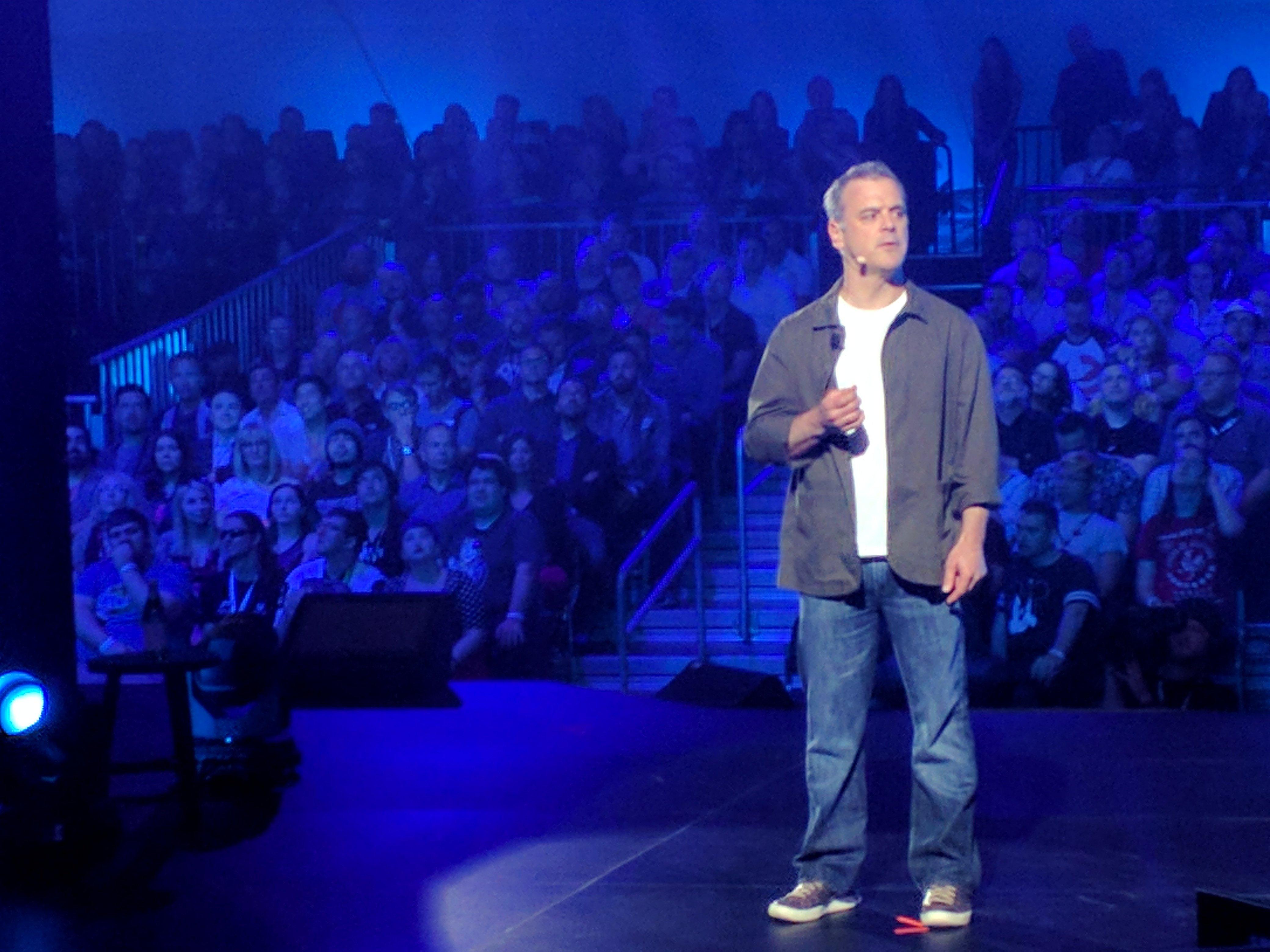 Pete Hines emceeing Bethesda's E3 showcase event.