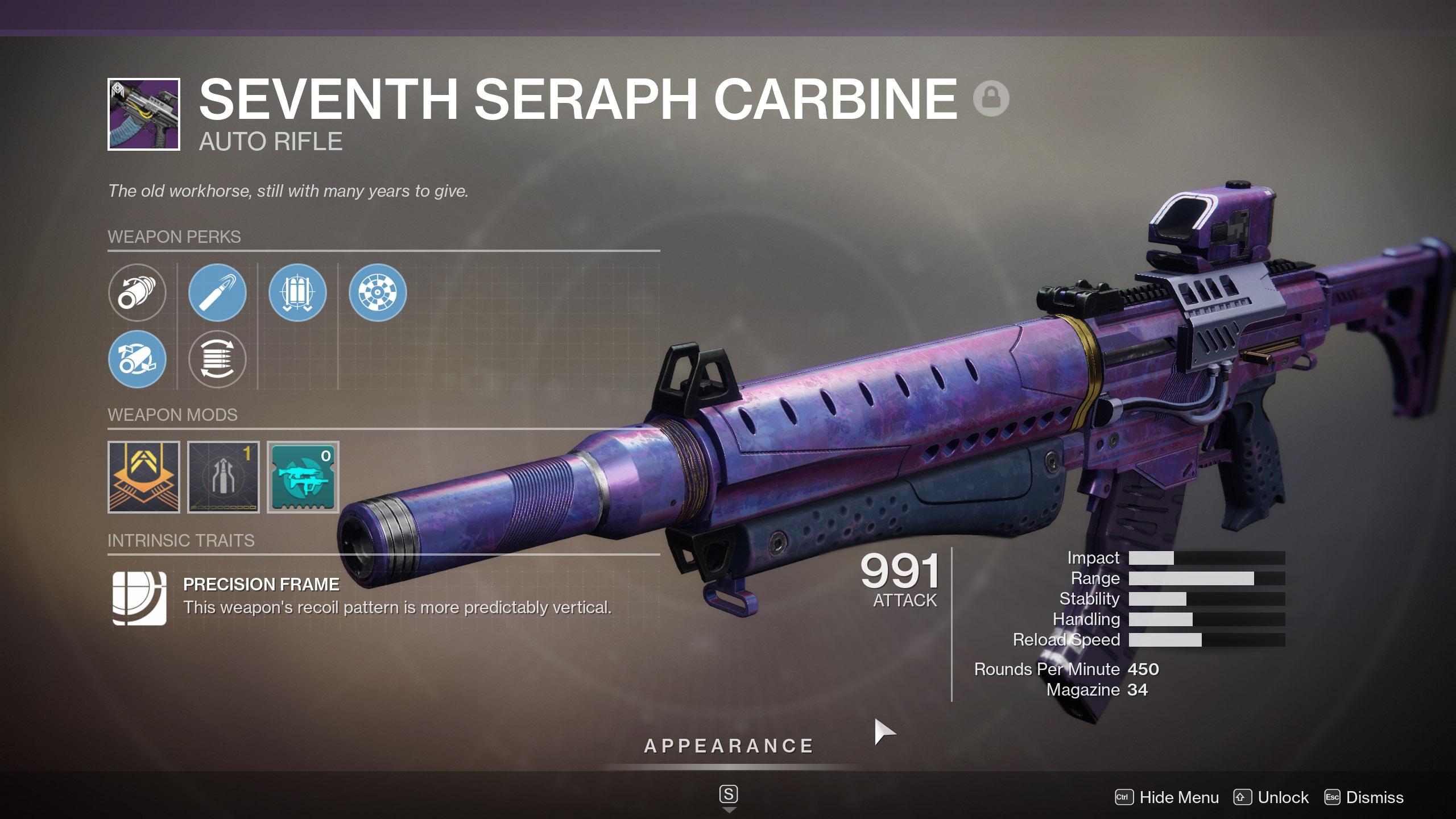 Seventh Seraph Carbine God Roll Destiny 2